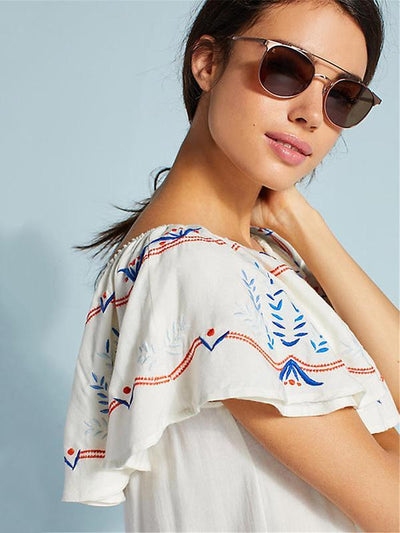 Lace Off-the-shoulder Beach Cover-Ups