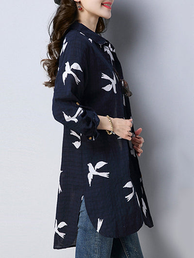 Long Sleeve High Low Animal Printed Slit Blouse