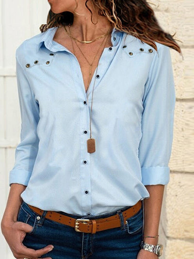 Woman V Neck Fashion Button Attaching Blouses