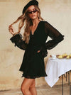Sexy V-neck Falbala Long Sleeve Mini Dress