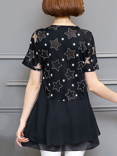 Star Panled Crew Neck Short Sleeve Plus Size Blouses