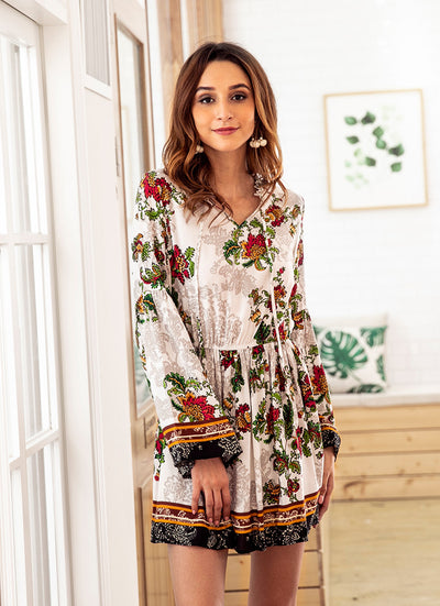 Long sleeve V neck Floral Elastic waist Shift Dresses