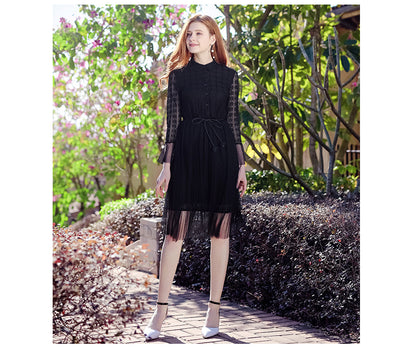 New Lady  Lace  Long sleeve Skater Dresses