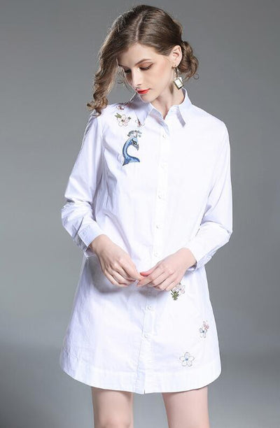 New Embroidery Lapel Long sleeve Blouses