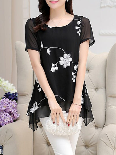 Short Sleeve Casual Floral Embroidered Plus Size Chiffon Blouse