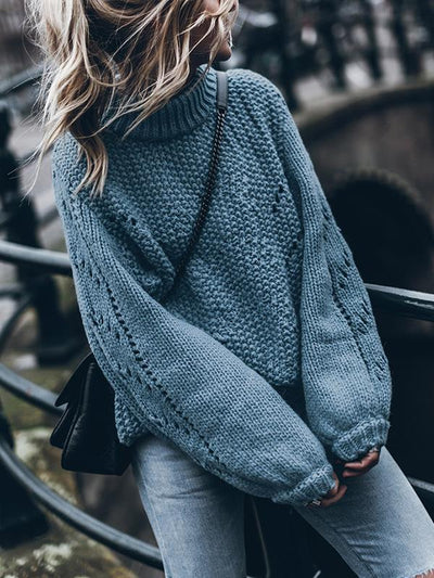 Solid color long sleeve hollow out sweaters