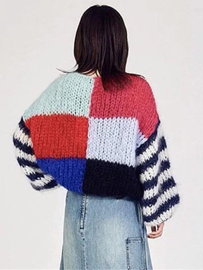Knitting Split Joint Puff Sleeve Sweater Tops