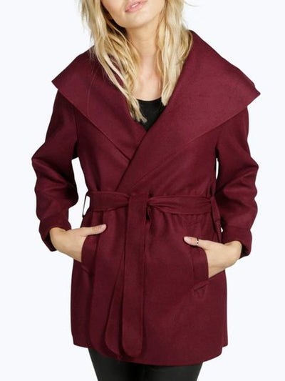 Long Sleeve Lapel Solid Casual Coat