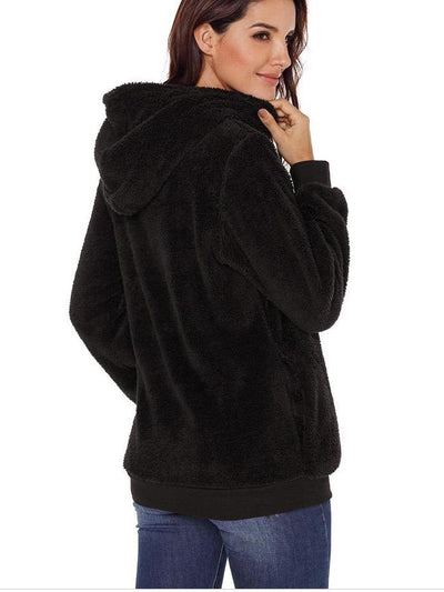 Women Fashion Pure Plush Hoodies & Sweatshirts