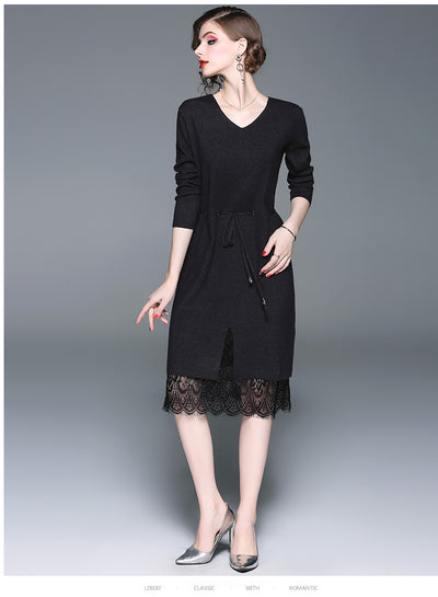 Autumn Fashion V neck  Lace Vent Knit Skater Dresses