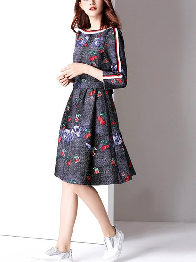 New Women Cherry Floral Off shoulder Lace Skater Dresses
