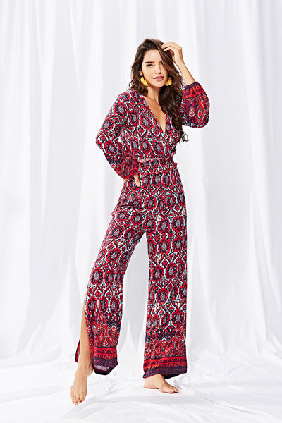 Autumn Floral  V neck Jumpsuits