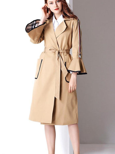Fashion Women Mandarin sleeve Lace Trench Coats