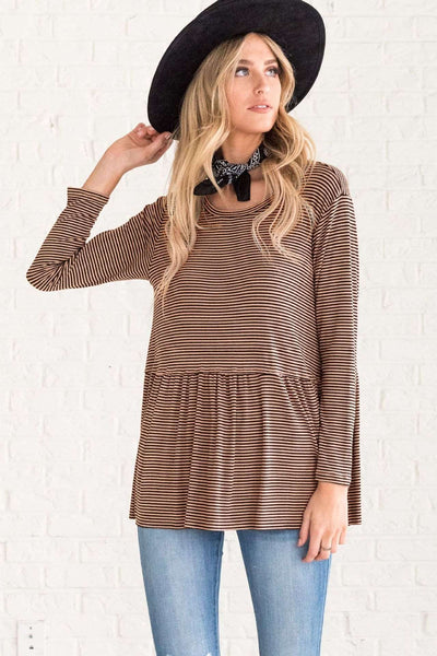 Fashion Stripe Gored Round neck Long sleeve T-Shirts