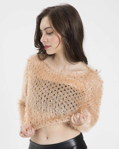 Sexy Knit Hollow out Purl Long sleeve T-Shirts