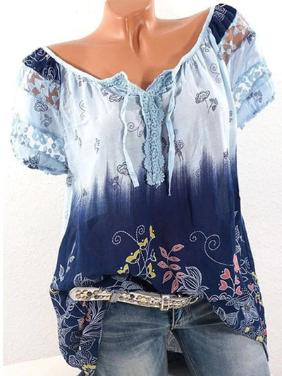 Short Sleeve Casual Crew Neck Printed Plus Size T-shirts