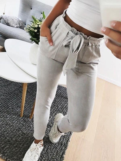 Casual slim women plain tie waist long pants