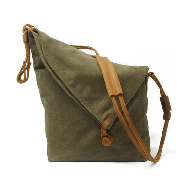 Casual Canvas Leather Dumpling Crossbody Bag  Large Capacity