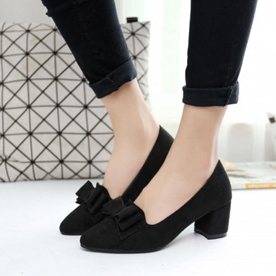 Bowknot Suede Women Chunky Heel Pointed Toe Pumps