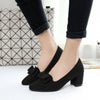 Woman Bowknot Suede Women Chunky Heel Pointed Toe Pumps