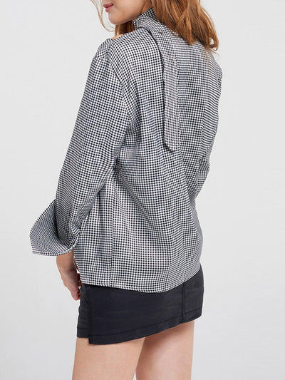 Long Sleeve Stand Collar Casual Cotton Gingham Shirt