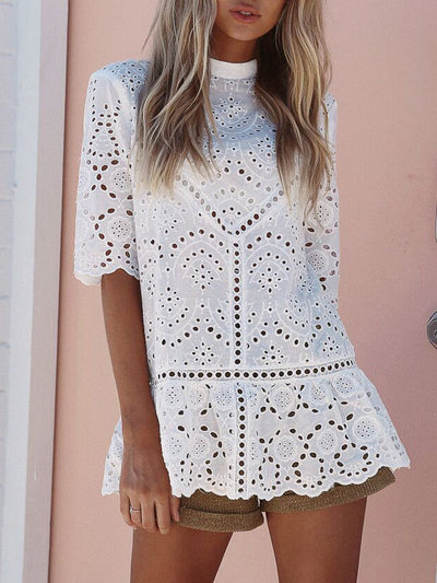 Half Sleeve Girly Eyelet Stand Collar Blouse