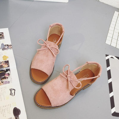 Platform Casual Lace-up Suede Summer Sandals