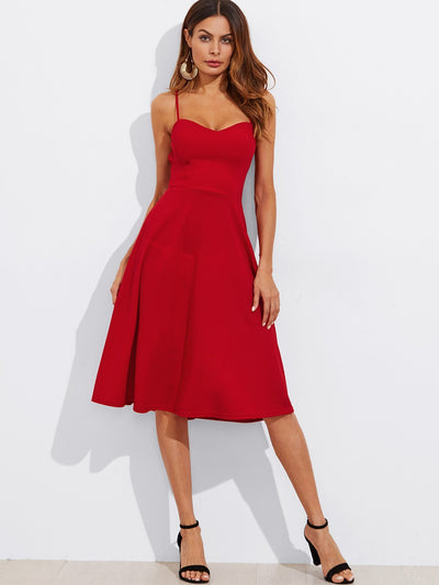 Crisscross Belted Back Fitted & Flared Dress - Anabella's