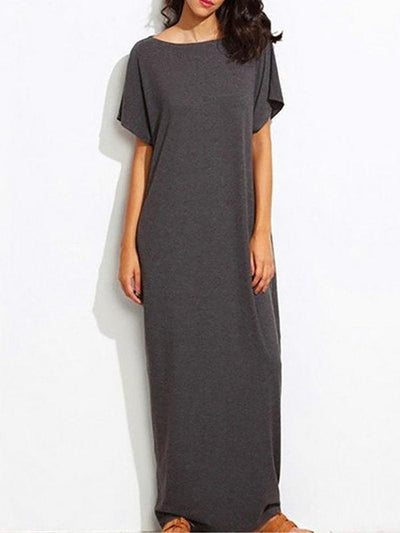 Plus Size Crew Neck Dress Daily Short Sleeve Casual Maxi Dress