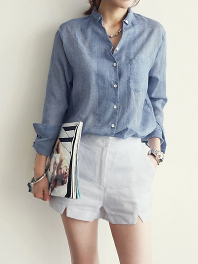 Casual Long Sleeve Loose Linen Blouse