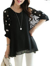 Crew Neck Batwing Polka Dots Printed Plus Size  Blouse