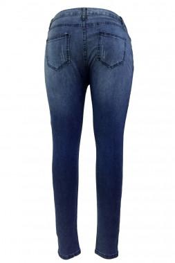 Dark Sandblast Wash Denim Destroyed Skinny Jeans