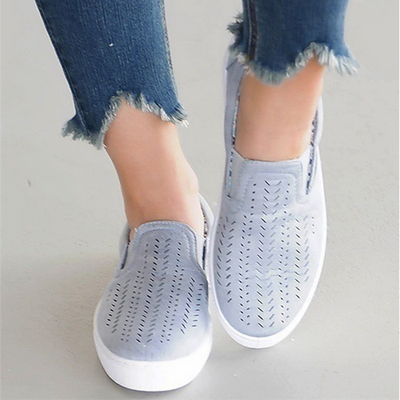 Hollow-out Cloth Casual Flat Heel Slipper