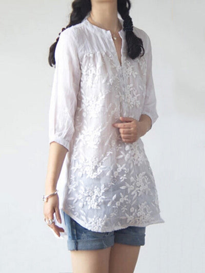 White Long Sleeve Embroidered Floral Organza Blouse