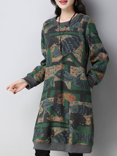 Fish Printed Crew Neck Cozy Dress