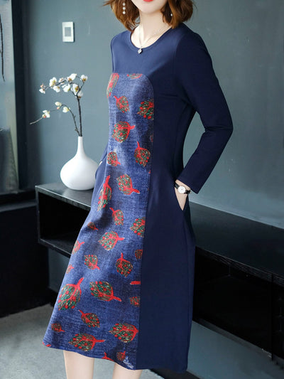 Blue Abstract Paneled Crew Neck Knitted Midi Dress