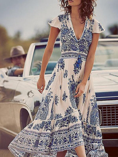 V neck Swing Asymmetric Floral Boho Maxi Dress