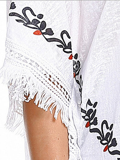 Cape Sleeve Embroidered Casual Blouse