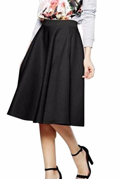 High Waisted Skater Full Circle Pleated A-Line Ladies Midi Skirt