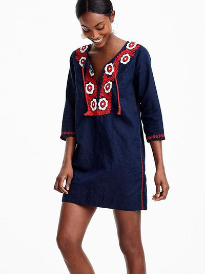 Navy Blue Embroidered Beach Cover-Ups