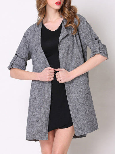 Gray Cotton-blend Shawl Collar Work Coat Trench Coats