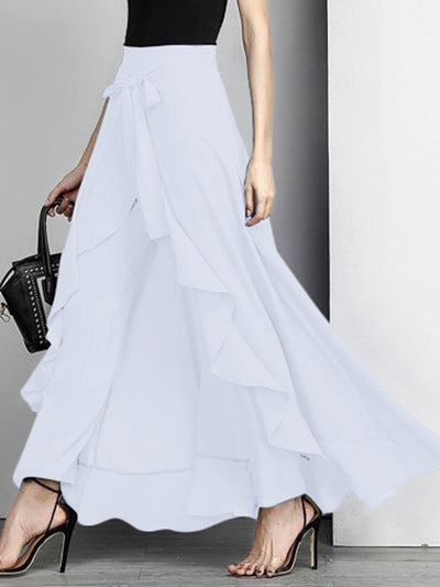 Asymmetric Ruffled Elegant Swing Solid Skirt