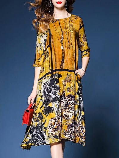 Yellow Printed Vintage Chiffon Midi Dress