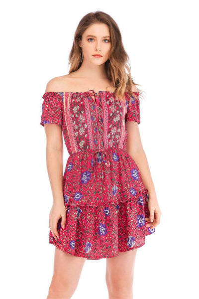 Floral Off shoulder Skater Dresses