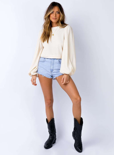 Fashion Round neck Puff sleeve T-Shirts