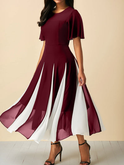 Color-block Elegant Frill Sleeve Chiffon Paneled Dress