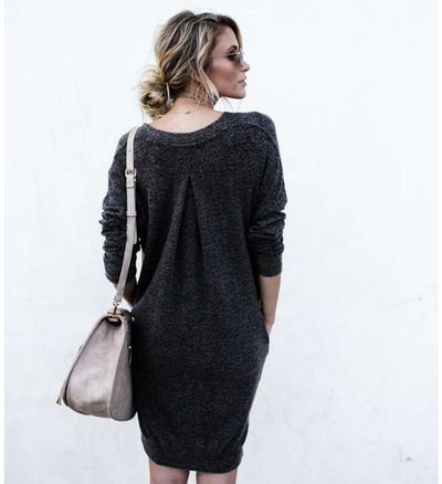 Fashion V neck Long sleeve Knit Shift Dresses