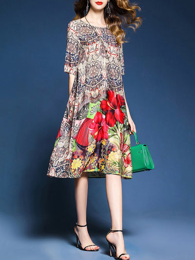 Shift Casual Floral Plus Size Dress