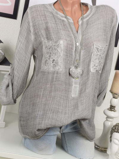 Lace Paneled Long Sleeve Crew Neck Plus Size Blouse