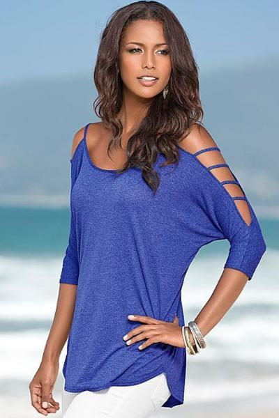 Dusty Blue Cutout Sleeves Casual Blouse